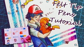 HOW TO USE FELT TIP PENS ~ ENG Tutorial + Ash & Pikachu (Pokémon) Drawing