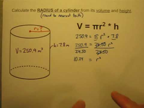 Calculate The Radius Of A Cylinder When Given Its Volume