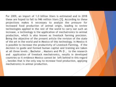 Mechatronics and Precision Livestock Farming in Mexican Animal Production AR 41 1 7