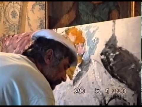 Kostas Loustas is painting Nikos Aslanoglou