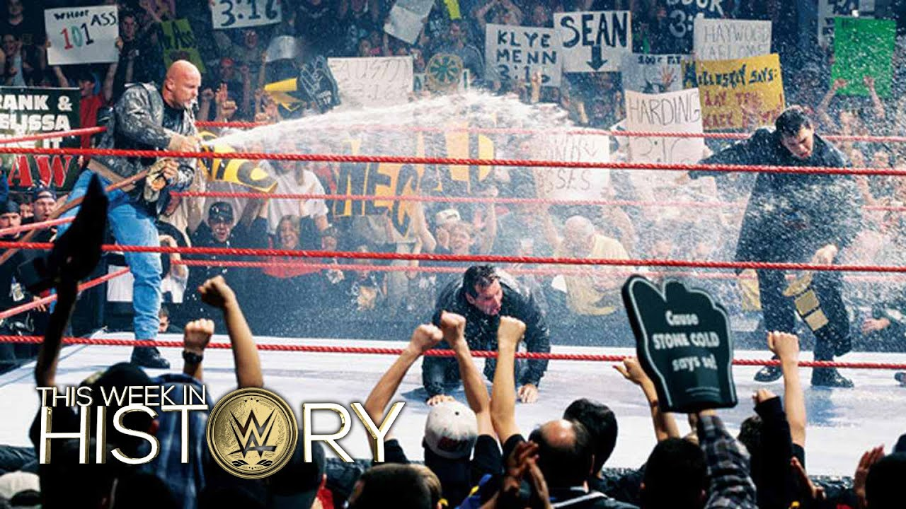 stone cold gives the corporation a beer bath  this week in wwe history  march 24  2016
