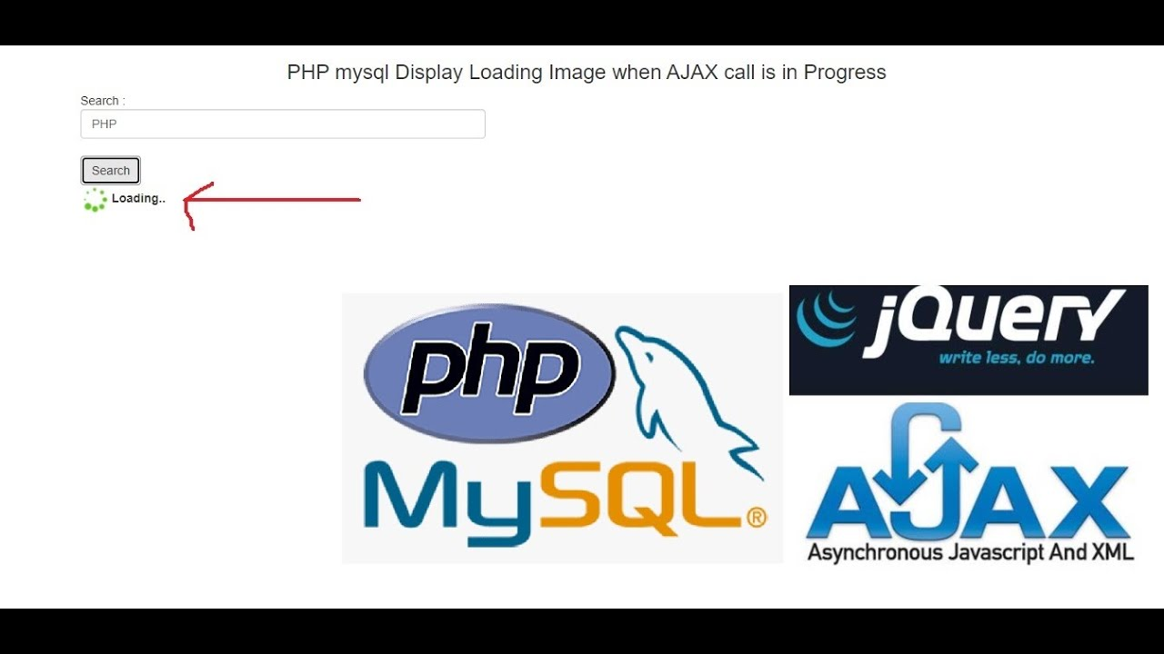 PHP Mysql Display Loading Image when AJAX call is in Progress