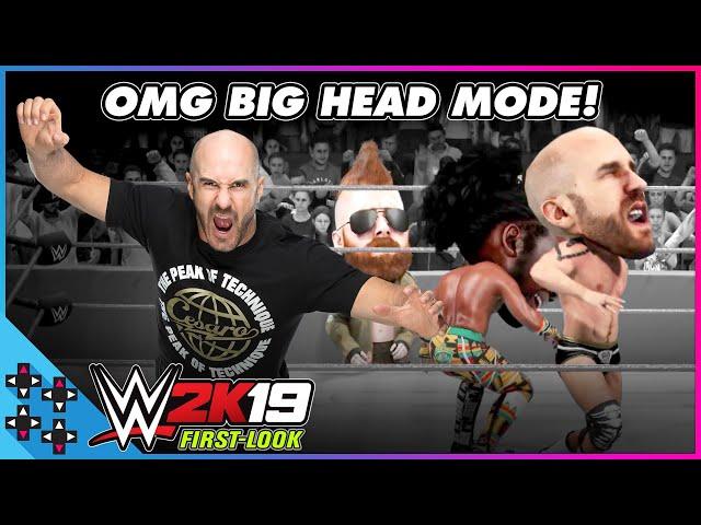 WWE 2K19 BIG HEAD MODE: CESARO takes on XAVIER WOODS! - UpUpDownDown Plays