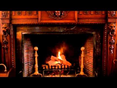 Ornate Handcrafted Wood Burning Fireplace - Yule Log Video