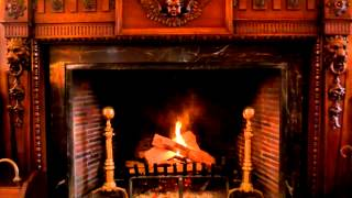 Ornate Handcrafted Wood Burning Fireplace - Yule Log Video