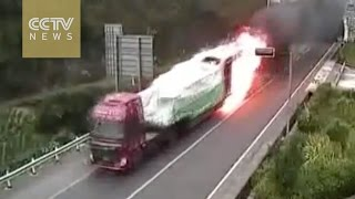 Truck catches fire in tunnel, driver avoids catastrophe