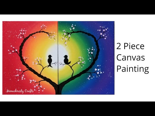 Simple 2 Piece Canvas Painting Easy Acrylic Tutorial Youtube