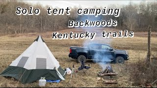 Solo tent camping oḟf backwoods Kentucky trails