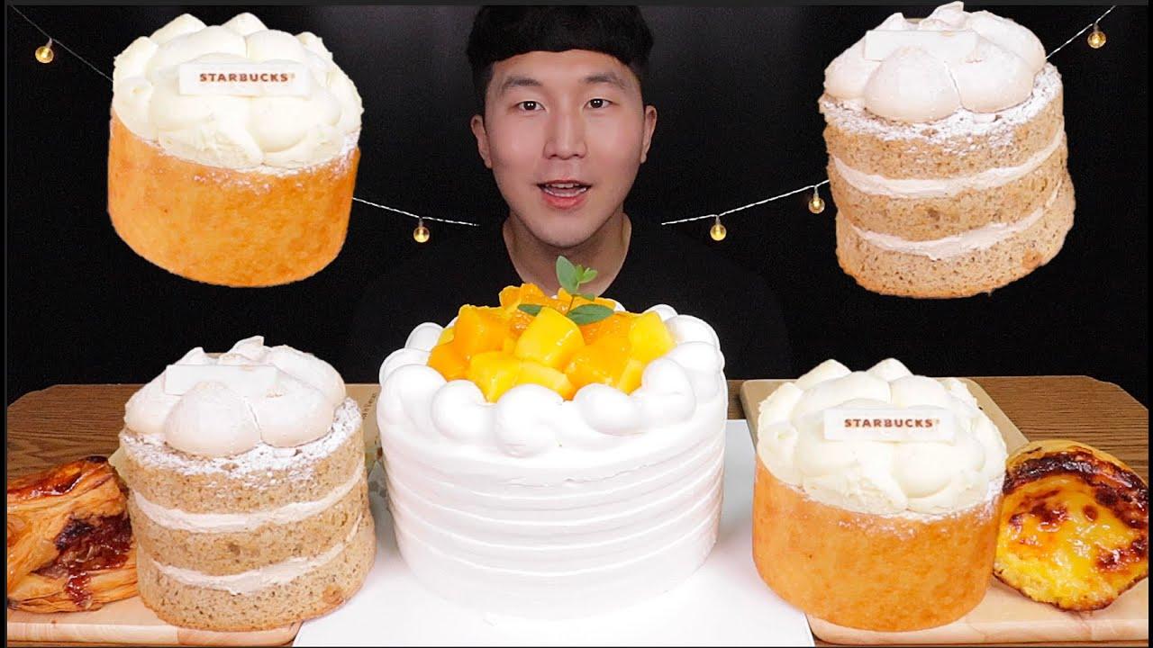 [SUB]역시 케이크는 과일이 들어가야 더 맛있어!!!😋😋(Mango Orange Cake, Starbucks Slice Cake)#MUKBANG