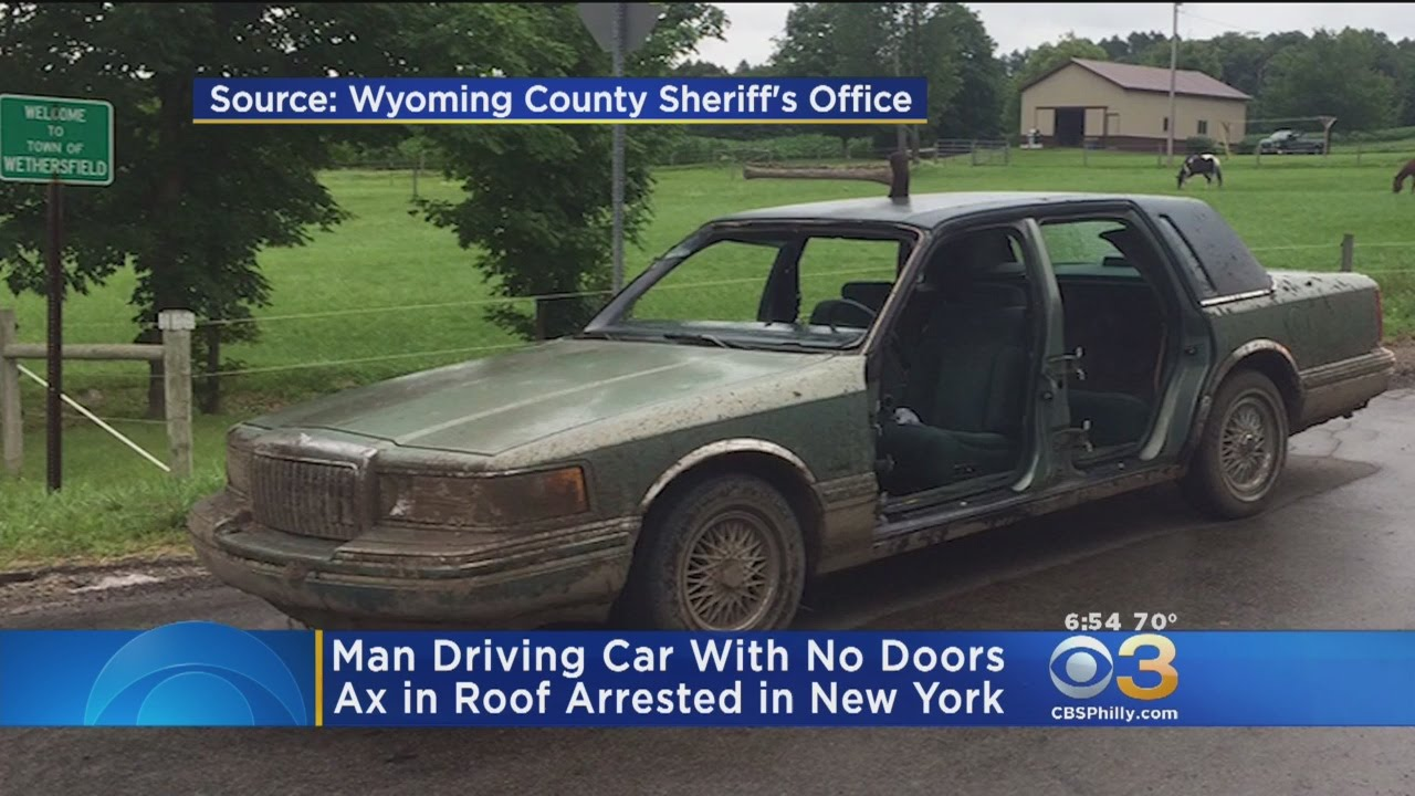 Sheriff Man On Drugs Drove Doorless Car With Axe On Roof Youtube