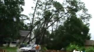 Dumb Drunk Guy Chops Down Tree That Falls Destructs House Shed and Car Vehicle Epic Fail