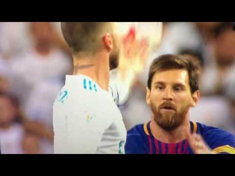 Sergio Ramos fools Messi with ball Supercopa De Espana 17. august 2017