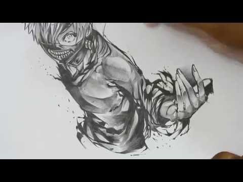 Рисуем Канеки Кена аниме Токийский гуль