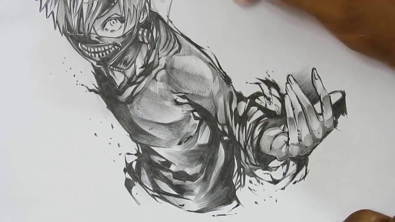 Рисуем Канеки Кена аниме Токийский гуль - YouTube