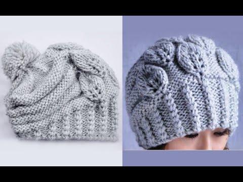 Вязаные зимние шапки для женщин спицами с описанием