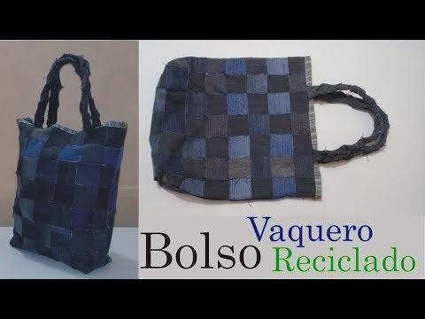 mejor sitio web a6ef2 174ea Cómo hacer un bolso uniendo tiras de tela vaquera (Reciclado)