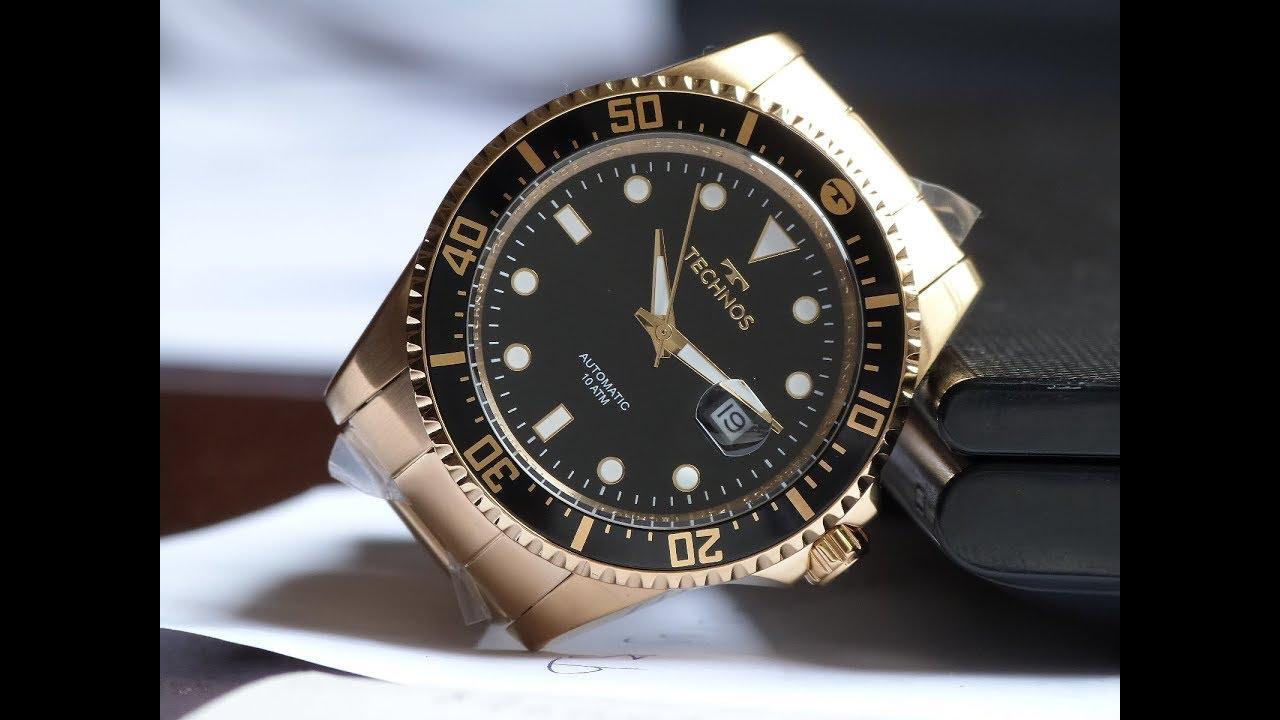 b29ee1caf278d Relógio Dourado Automático Technos 8205NY 4P Classic Sport - YouTube