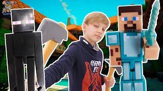 МАЙНКРАФТ: портал в пиксельный мир! ДАНЯ и СТИВ в Minecraft!