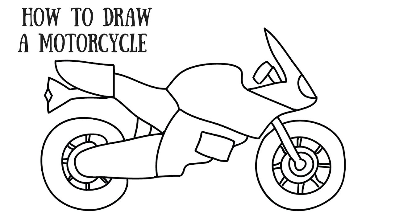 How To Draw A Motorcycle Easy Step By Step For Kids Youtube