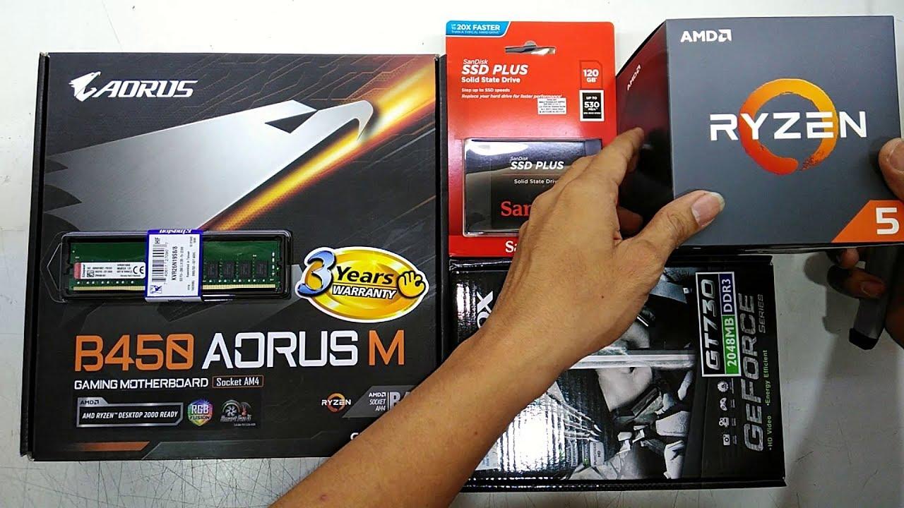 Amd Ryzen 5 2600 Gigabyte B450 Aorus M Sandisk 120gb Ssd Sata Afox Gt730 Budget Gaming Rig 2018 Youtube