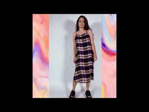 BETINA vestido - xadrez roxo