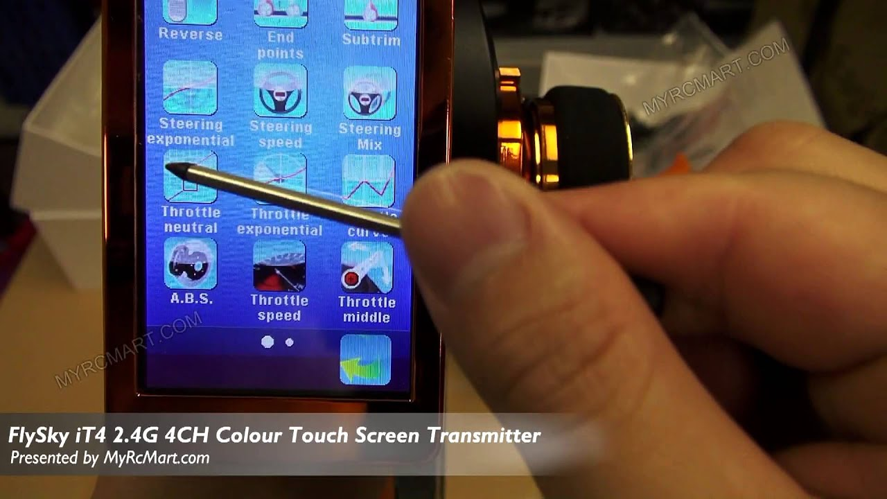FlySky iT4 2 4G 4CH Colour Touch Screen Transmitter Unoboxing and Manual  Review - MyRcMart com