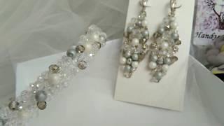 Свадебный набор: обруч обшит бусинами и роскошные серьги | Jo Handmade