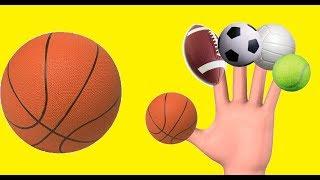 LEARN SPORT BALLS FINGER FAMILY SONG | Learn Colors Children's Nursery Rhyme | Kids Songs