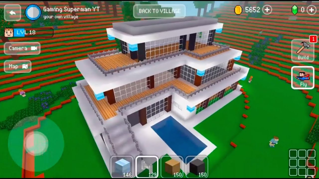 Block craft 3d mobile gameplay modern house youtube for Block craft 3d online play
