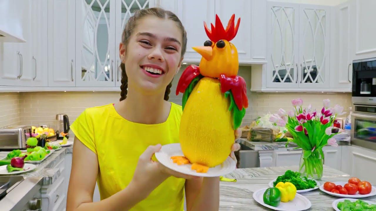 Stacy y Artem hacen figuras animales de verduras y frutas |  Nastya Artem Mia