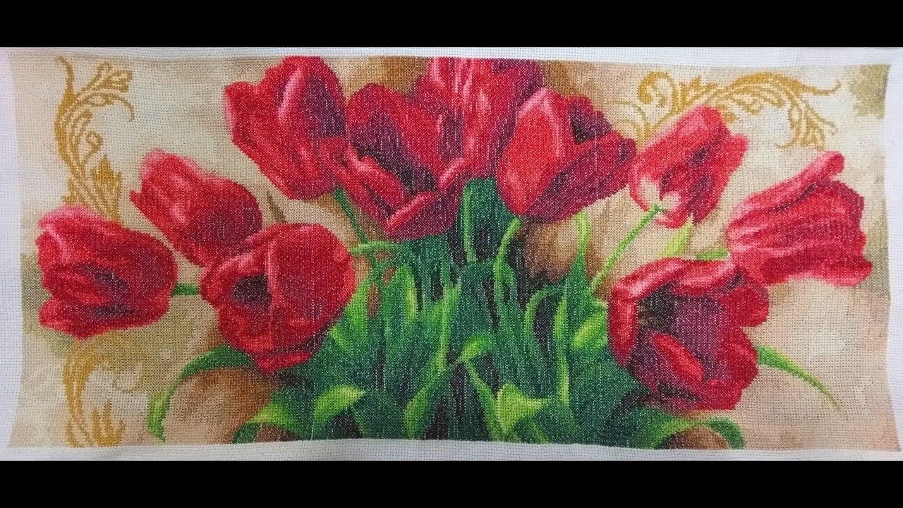 "Картина крестиком ""Тюльпаны"" / Картина хрестиком ""Тюльпани"""