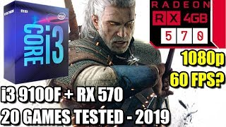 i3 9100f paired with an RX 570 - Enough For 60 FPS? - 20 Games Tested at 1080p - Benchmark PC 2019