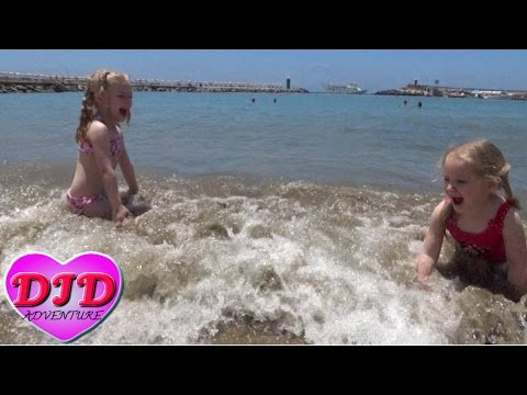 Kids swim in the ocean for the first time Kids video Children adventure in Gran Canaria Puerto Rico ▶21:33