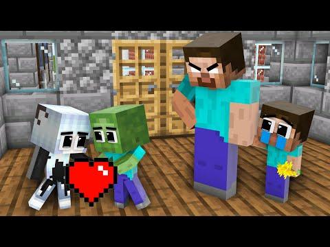 Monster School: Herobrine hinder Baby Zombie Love Baby Wofl Girl - Sad Story - Minecraft Animation
