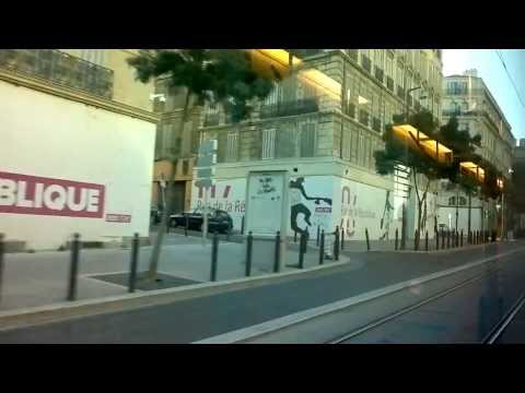 Marseille - Driving with the tram through the city in the morning (HD)