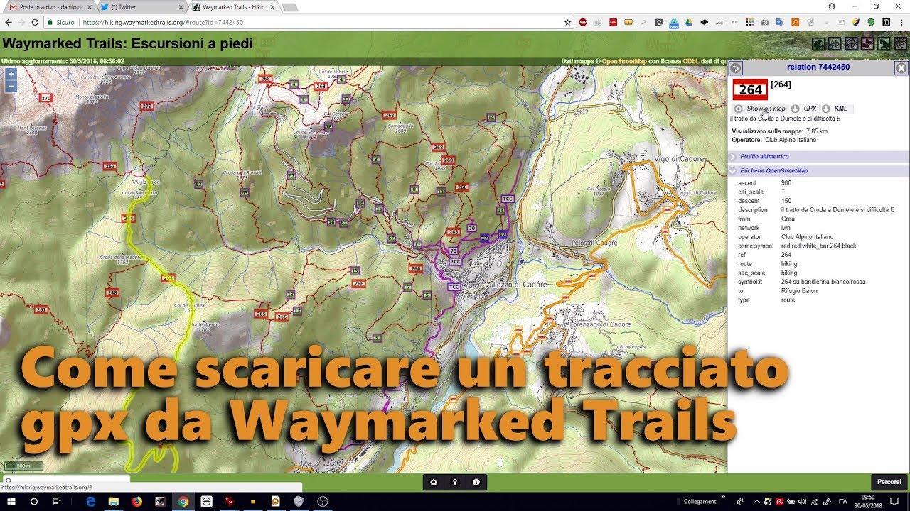 Come scaricare tracciati gpx da Waymarked Trails