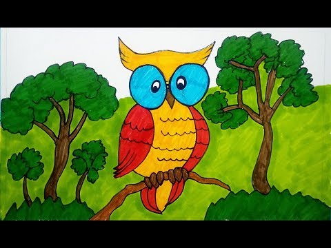 How To Drawing Owl Drawing Birds Drawing For Kids, Children's &  Beginners, Color For Kids - YouTube