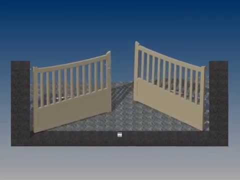 simulation ouverture portail 2 battants motoris en pente inventor youtube. Black Bedroom Furniture Sets. Home Design Ideas