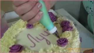 Как украсить торт за 15 минут(Как быстро украсить торт корнетиком! Рецепты сладкого на сайте www.konditer2.com., 2013-11-22T23:36:09.000Z)