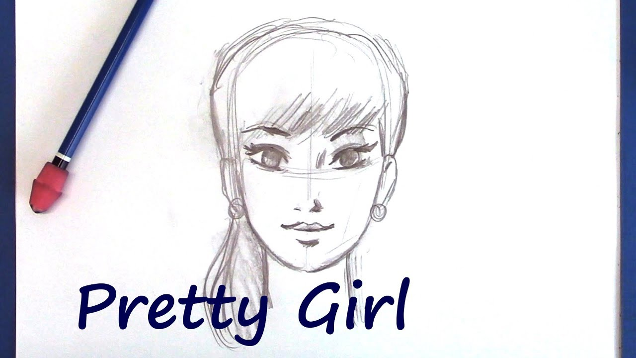 How to draw people pretty female face for beginners