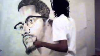 Malcolm X and Tupac TIme Lapse Charcoal Drawing - YouTube.flv