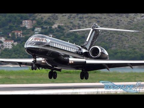 Epic All Black Bombardier BD-700-1A10 Global Express VQ-BKI - Landing at Split Airport SPU/LDSP