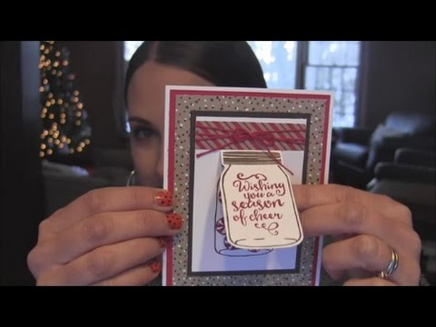 Christmas Card Tutorial - Lift the flap card using Jar of Cheer stamps
