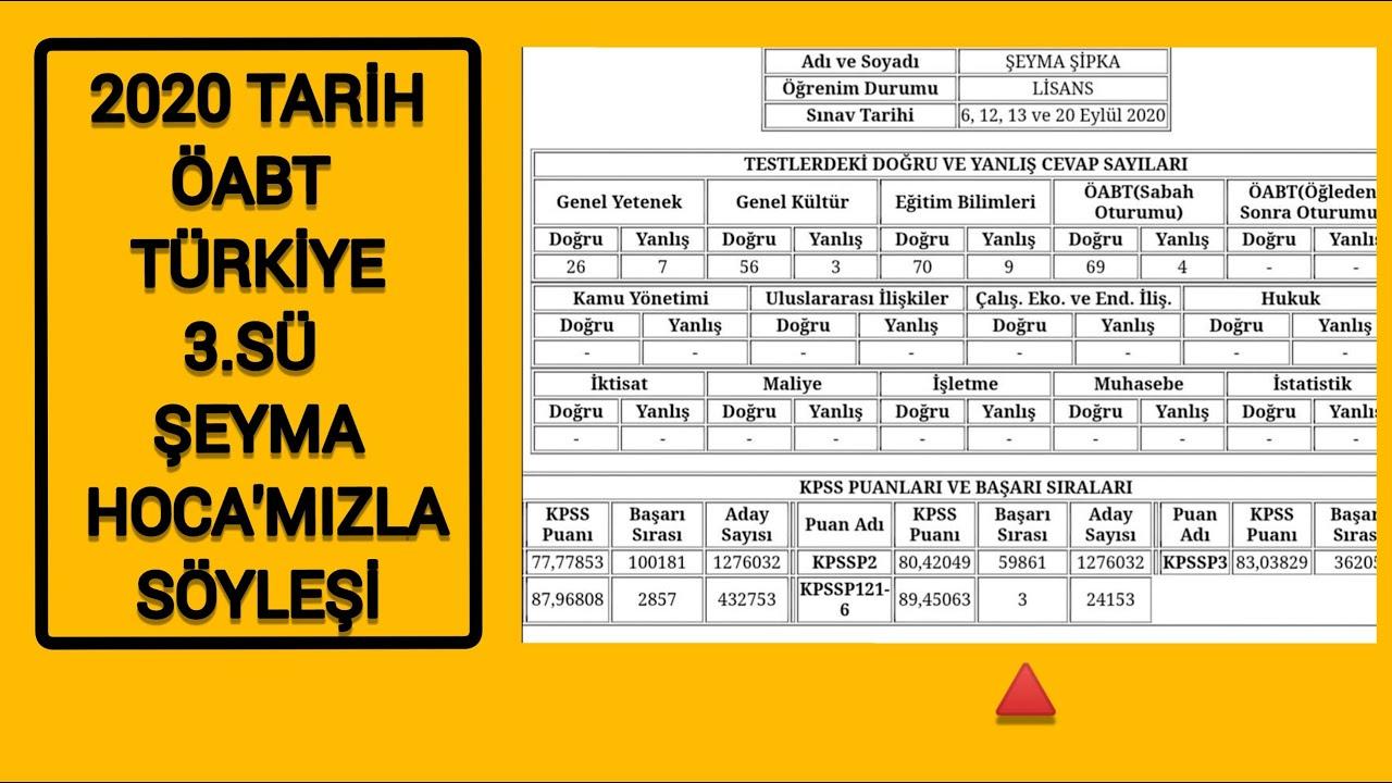 2020 KPSS Tarih ÖABT Türkiye 3.sü Şeyma Hoca'mızla Söyleşi #öabttarih #kpss