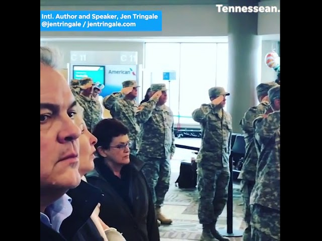Airport comes to standstill for national anthem honoring children of fallen soldiers
