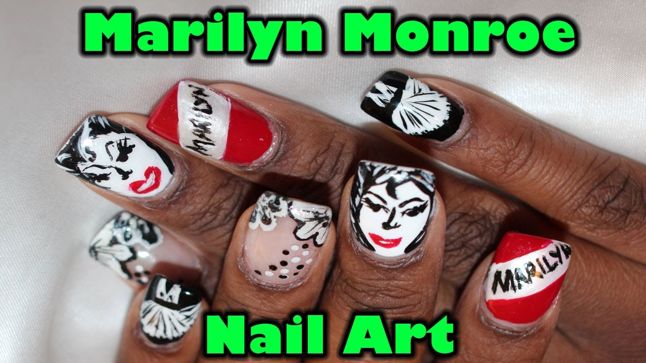 Marilyn Monroe Nail Art Tutorial - YouTube