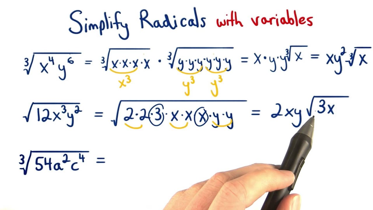 worksheet Multiplying Radicals With Variables Worksheet simplify radicals with variables visualizing algebra youtube