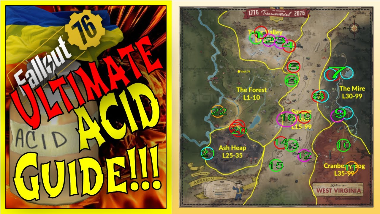 Fallout 76 Ultimate Acid Farming Guide 20 Locations Vault 94 Events Workshops More 2019 2020 Youtube