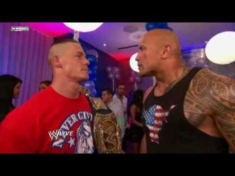 WWE Raw 5211 John Cena interrupts The Rock Birthday Party HD