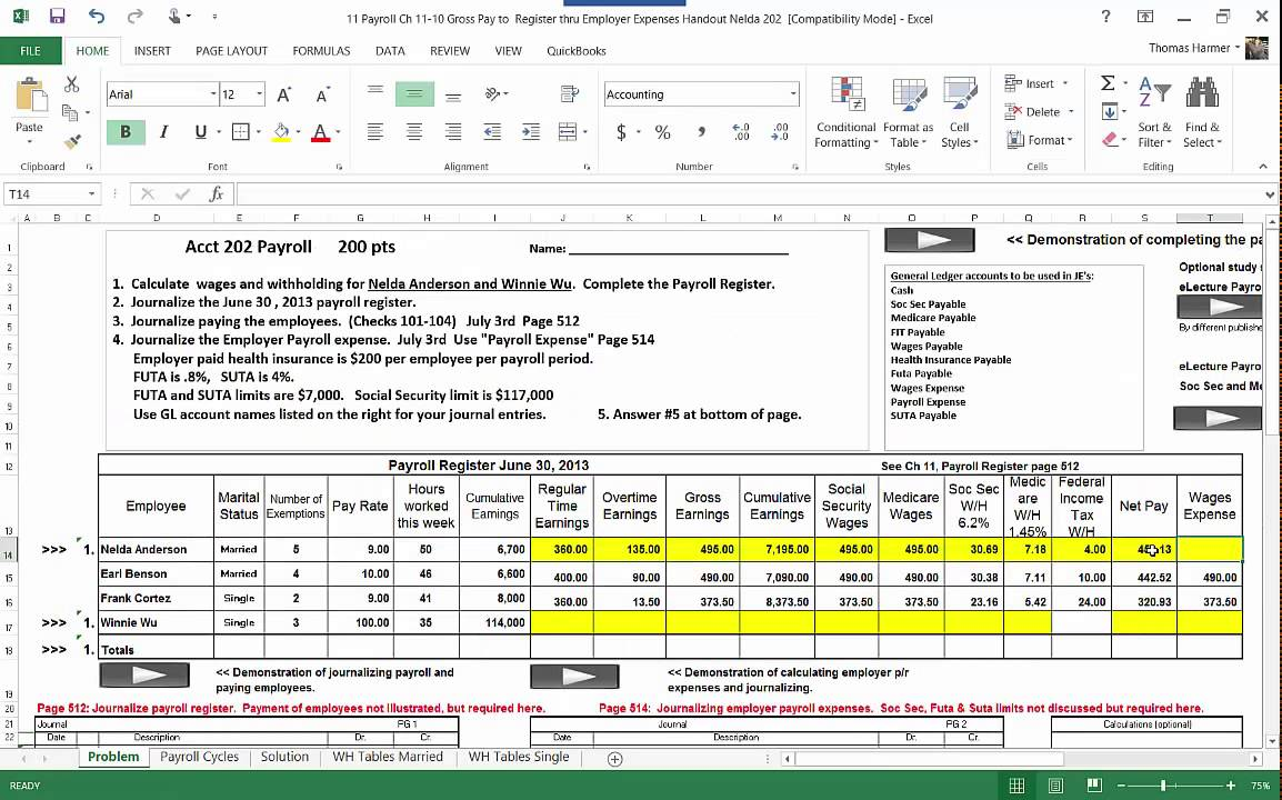 11 a preparing the payroll register mp4 youtube